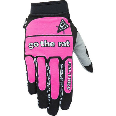 Fist Handwear NEW Mx Go The Rat Replica Retro Pink Strap Motocross Gloves