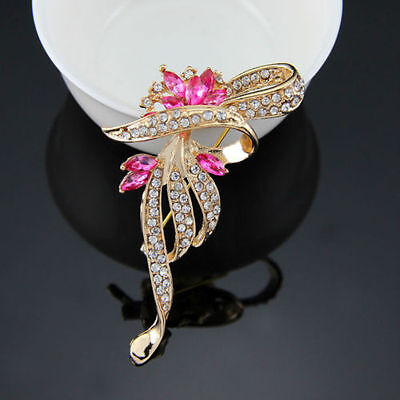 Beautiful Gold Plated Pink Clear Crystal Fashion Flower Statement Brooch