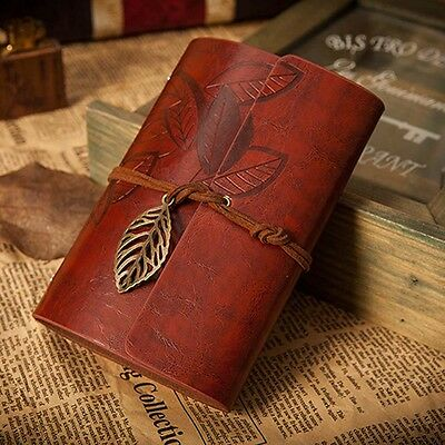 Retro Leather Vintage String Leaf Blank Diary Notebook Journal Sketchbook Red DA