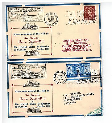 2 covers 1957 Queen trip to USA COVER ILLUSTRATED  ONE GOING -ONE COMING BACK