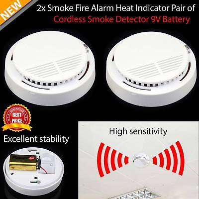 2 x Smoke Detectors Fire Alarm Ionisation with 2 Batteries Included UK Seller