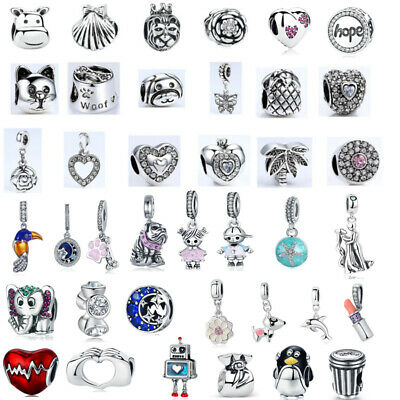 European 925 Silver Plated Charm Beads Love Heart Pendant Fits Bracelet Necklace