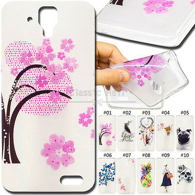 For Lenovo A536 Clear TPU Cover Silicon Pattern Protective Soft Back Case Skin