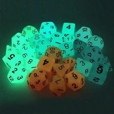 7pcs TRPG Games Dungeons & Dragons Glow In Dark D4-D20 Multi Sides Dice 4 Color