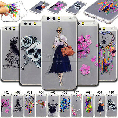 For Huawei Lenovo Clear Back Various Cute Soft Cover Silicone Case TPU+IMD Skin