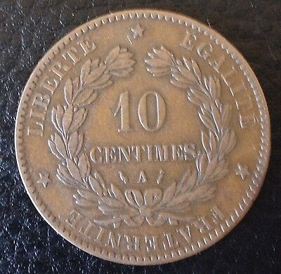1886 France 10 Centimes Bronze Coin