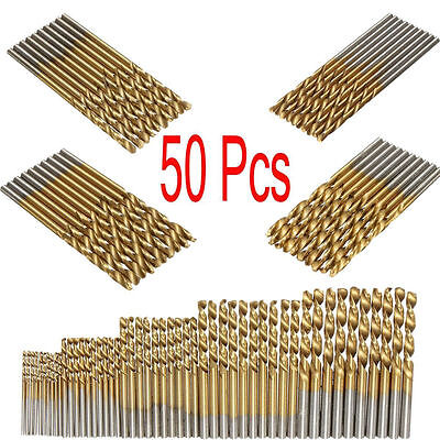 50PCS Titanium Coated 1/1.5/2/2.5/3mm HSS High Speed Steel Drill Bit Set Tool up