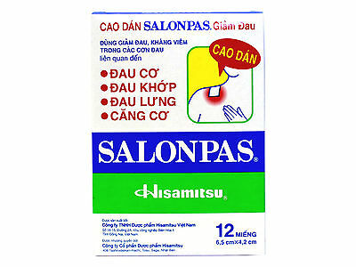 Salonpas Pain Relieving Patch Hisamitsu -  5 Boxes 60 Patches - Free Shipping