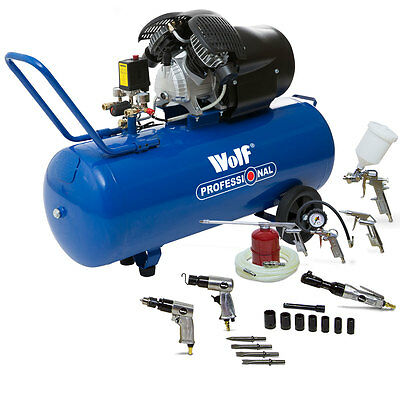Wolf Air Compressor VTwin 100 Litre 3HP 14CFM 8BAR 240v Portable & Autoshop Kit