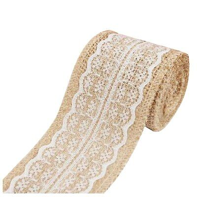 2M Pretty Lace Edged Hessian Burlap Ribbon Roll for Rustic Wedding Party L2A9