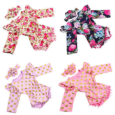 Baby Toddler Girl Long Sleeve Romper Bodysuit Jumpsuit Headband Clothes Outfits