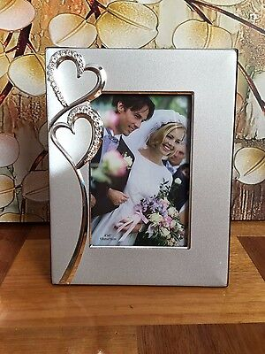 """Wedding Engagement Diamante Hearts Silver Photo Picture Frame 4""""x6"""" Gift Present"""