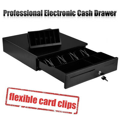 Heavy Duty Cash Drawer POS Cash Register With 4 Bills &8 Coins Tray&Cheque Slots