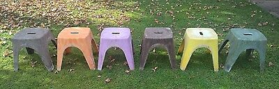 6 x Vintage Retro NALLY Plastic Milk Bar Arcade Stool Stackable BBQ Party Chair