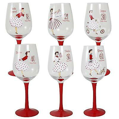 Mrs Smith Boxed Birthday Wine Glass Red Stem 18th 21st 30th 40th 50th OR 60th