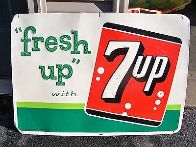 Fresh Up With 7 UP Metal Sign Stout Sign 1962
