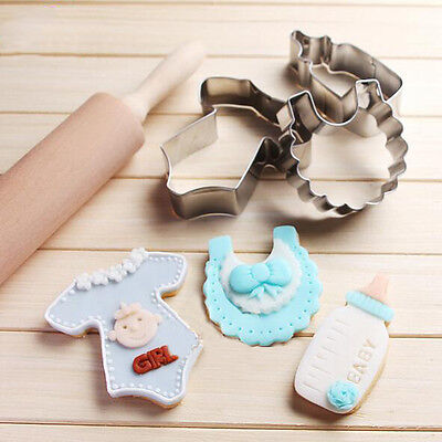 3Pcs Stainless Steel Baby Shower Bottle Biscuit Cutter Mold DIY Cake Set