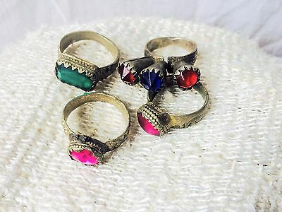 Lot Old Colorful Vintage Kuchi Rings. Tribal, Boho, Belly Dance, Gypsy