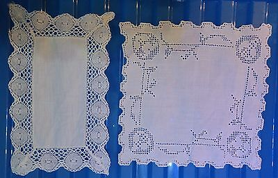 VINTAGE 2 embroidered linen cloths 8 inches 20 cm (VC139)