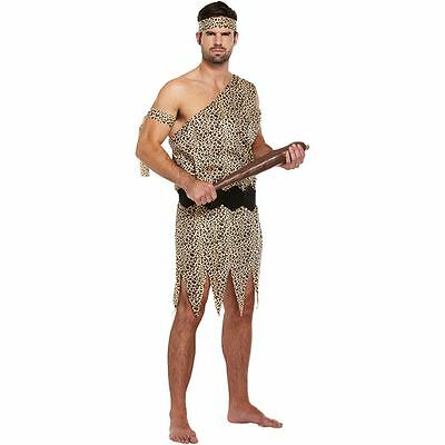Mens Caveman Costume Fancy Dress Halloween Jungle Adult Male Stag Party Outfit
