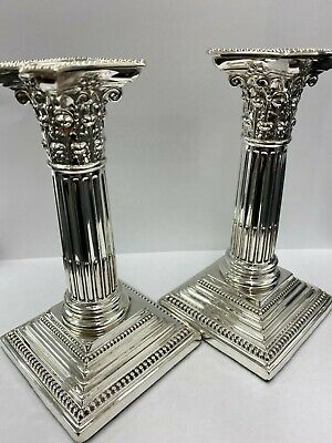 A Pair of Beautiful Antique Sterling Silver Candlesticks