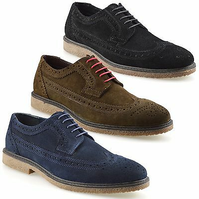 Mens Leather Suede Lace Up Casual Formal Office Work Lace Up Brogues Shoes Size