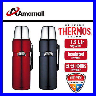 Thermos STAINLESS STEEL VACUUM Insulated Flask King Bottle 1.2L Red or Blue