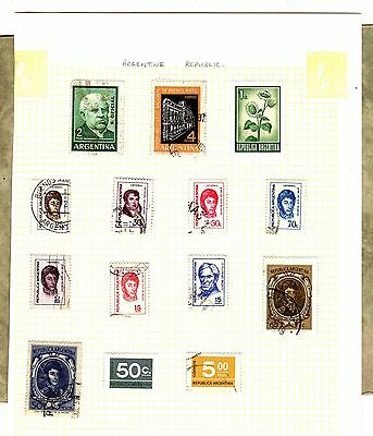 ARENTINA Argentine Republic x 14 STAMPS Hinged On A Page