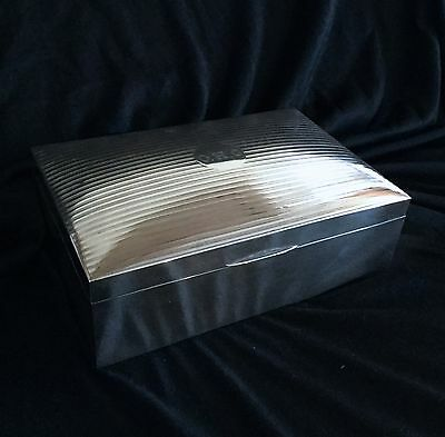 Antique Art Deco English Sterling Silver Cigar Box From 19 Century Very Large