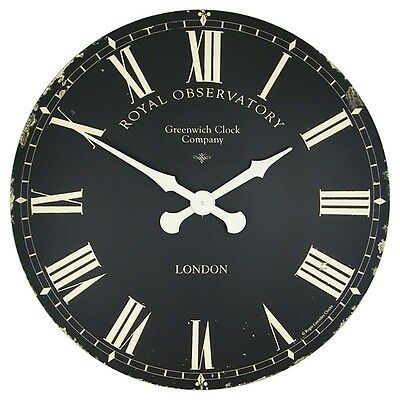 Roger Lascelles Extra Large Greenwich Dial Wall Clock Black 70Cm