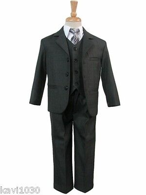 Boys Dark Charcoal Gray Formal 5 Piece Suit Baby Toddler Husky Size 6M-16H
