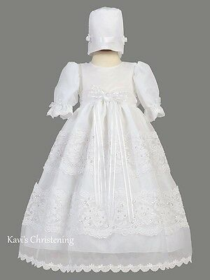 Girls White Christening Gown Baptism Dress w/ Lace Trim Size 0-18M Pauline