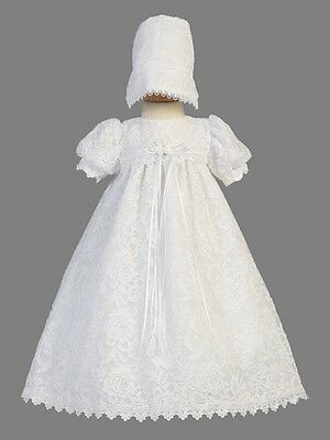 Girls White Christening Dress Baptism Gown Floral Laced Baby Size 0-18M Victoria