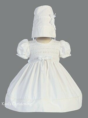Girls White Christening Dress Baptism Gown Cotton Smocked Size 0-18M Natalie