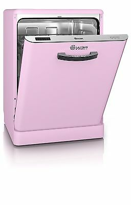 Swan SDW7040PN Retro A+ Dishwasher Full Size 60cm 12 Place Pink New from AO