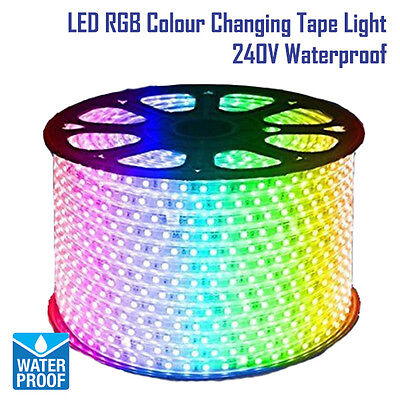 LED RGB Colour Changing Effects Strip Tape Light Flat Rope Light Waterproof 240V
