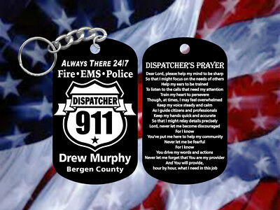 911 Dispatcher Gift with Dispatchers Prayer - Dog Tag Keychain - Personalized