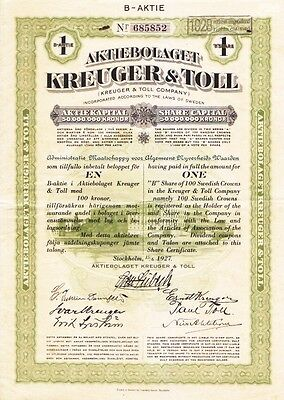 Kreuger & Toll Company Sweden 1927 Stock Certificate Famous Fraud