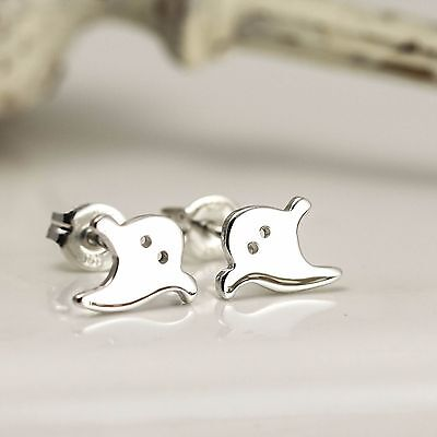 Handmade Sterling Silver Ghost Stud Earrings