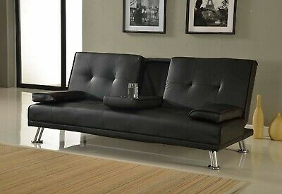 New Modern Quality Sofa Bed 3 Seat Faux Leather Cupholder Black Brown Red Cream