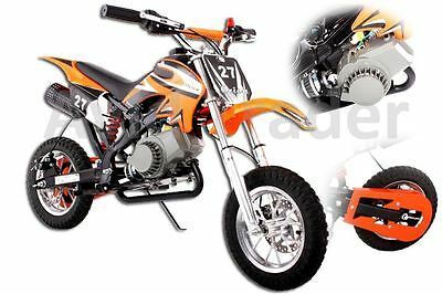 50Cc Pit Dirt Bike Mini Moto Orange Pocket Kids Off Road Scrambler Crosser