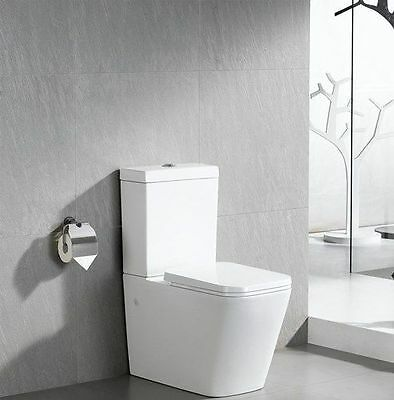 Modern WC Square Close Coupled Toilet with Heavy Duty Soft Close Seat