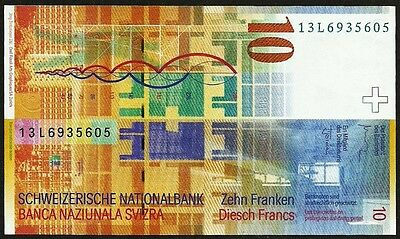 Switzerland 2013  Very Fine 10 Swiss Francs Banknote Paper Money Bill P-67e(1)