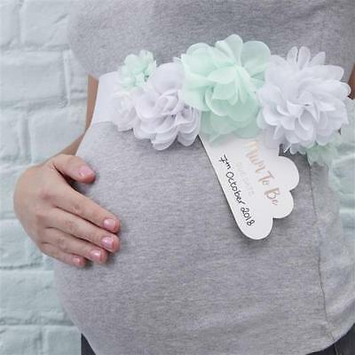 Baby Shower Sash - mint white flowers & Mum to Be Due Date cloud tag Hello World