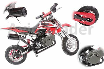 50Cc Pit Dirt Bike Mini Moto Red Pocket Bike  Kids Off Road Scrambler Crosser