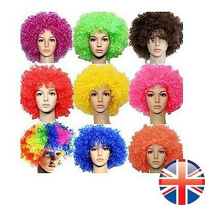 *UK Seller* 80's Curly Afro Wig Disco Party Hair Funky Clown Costume 7 COLOURS