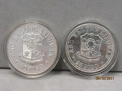 Philippines Silver Unc 1977 Coin's Crown 1977 50 Piso And 25 Piso (9879-World-Ns
