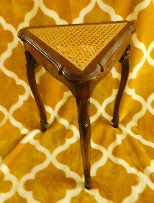 CANE WICKER RATTAN WOOD VINTAGE ANTIQUE Plant Stand Table ~FREE SHIPPING~
