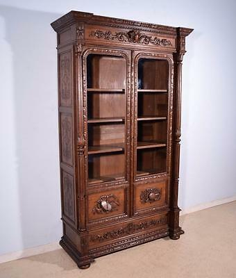 *Antique French Renaissance Revival Arts Themed Display Cabinet/Bookcase in Oak