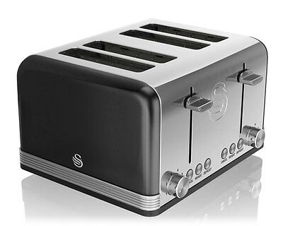 Swan ST19020BN 4 Slice Black Retro Toaster